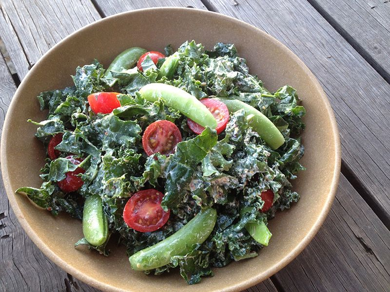 Kale-Tomato-Sweet-Pea-Salad-with-Creamy-Dressing